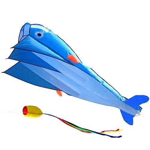 AGPtEKÂ 3D Kite Huge Frameless Soft Parafoil Giant Blue Dolphin Breeze Beach Kites