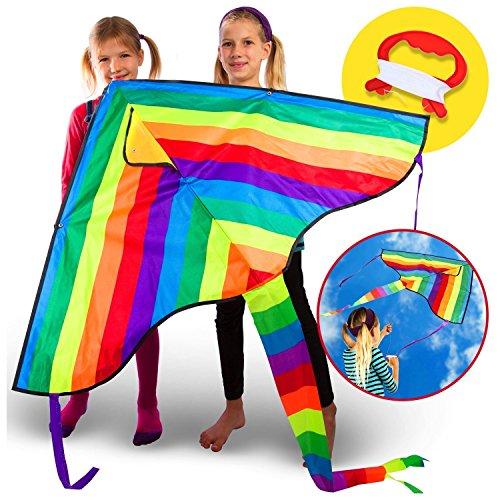 Huge Rainbow Kite For Children Kids Girls Boys Toddlers