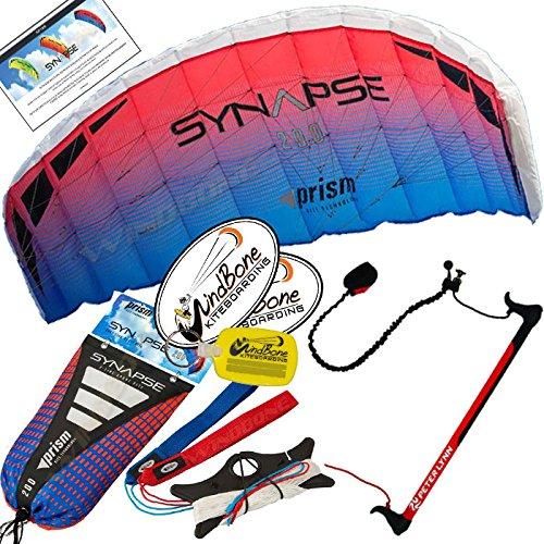 Prism Synapse 200 Coho Kite w Control Bar Bundle 4 Items  Peter Lynn 2-Line Control Bar w Safety Leash  WindBone Kiteboarding Lifestyle Stickers  WBK Key Chain - Kiteboarding Trainer Kite Kit