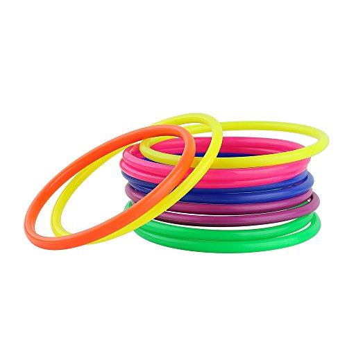 Crystallove 12pcs Plastic Multicolor Toss Rings for Carnival Garden Backyard Outdoor Games