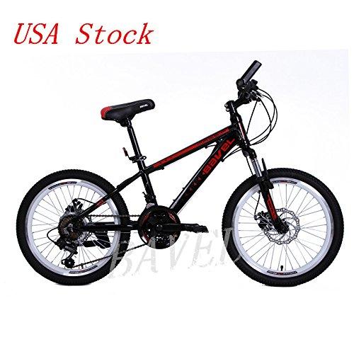 Bavel Children Kids Bicycle 18 Speed Complete Mountain Bike Aluminum Alloy Frame 20 Inch Wheel(black)