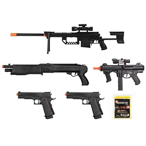 Mixed Lot of 5 Airsoft Guns Sniper Rifle Shotgun Spring Pistols 1000 6mm BBs Toy Guns Guaranteed Quality