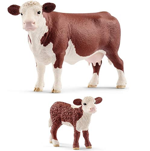 Schleich Set of Hereford Farm Animals with Cow and Calf Quality Toys Bagged Together