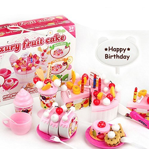 Baby Cute 73 Pieces Toys Play House Children Toys Kitchen Cookware Set fruit birthday cake honestly creative assembling toys Family Funny Toys Tea Time EC0104