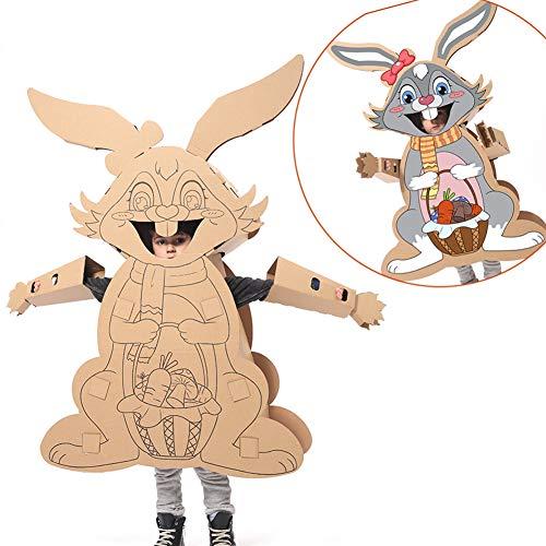 ROCK1ON Creative Cardboard Playhouse Toys Kids DIY Coloring Splice Crafts Model Wearable Assemble Cardboard Imitate Rabbit for Children Kindergarten Indoor Boys Girls Gifts