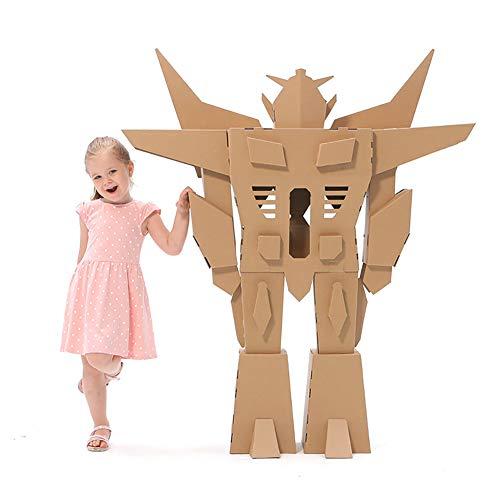 ROCK1ON Creative Cardboard Playhouse Toys Kids DIY Coloring Splice Crafts Model Wearable Assemble Cardboard Imitate Robot for Children Kindergarten Indoor Boys Girls Gifts