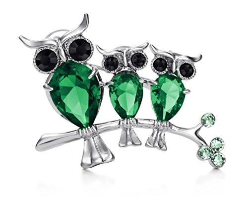 Green Cute Owl Brooch Pin Austrian Rhinestone Fashion Jewelry