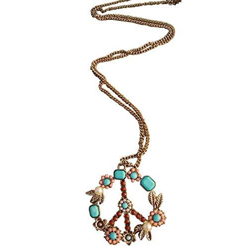 Stream Bohemia Peace Sign Pendant Colorful Beads Necklace Woman Fashion Jewelry