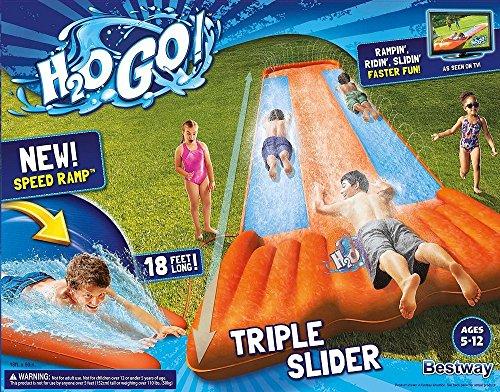 Inflatable Triple Water Slide Outdoor Kids Play Backyard Pool Big Splash Spit