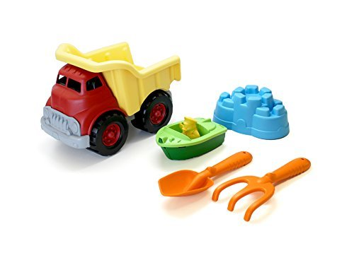 Green Toys Sand Water Play Dump Truck with Boat Sand Tools by Green Toys