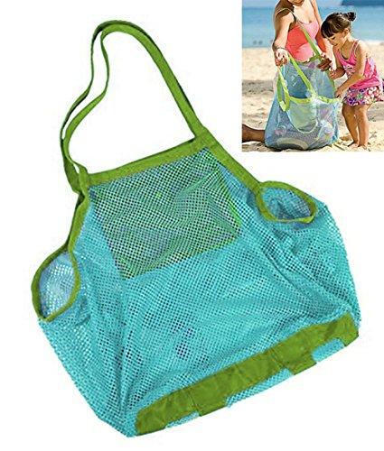 Qingsun Lightweight Mesh Beach Bag Beach Tote bags Baby Collection Nappy Organizer Storage Bag for Children Beach ToysBlue