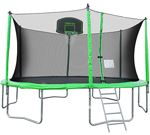 Merax 14-Feet Round Trampoline with Safety Enclosure Basketball Hoop and Ladder
