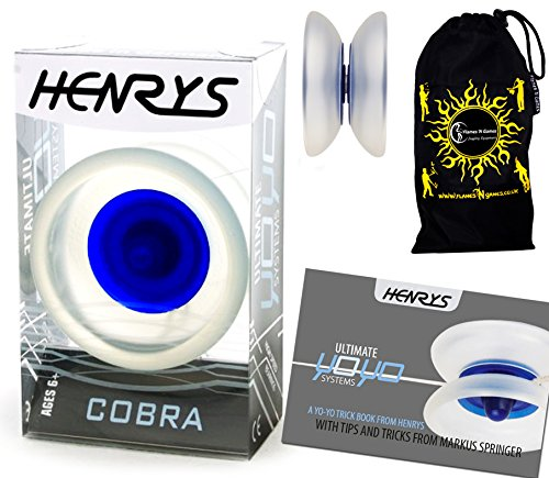 Henrys COBRA YoYo IceBlue Professional YoYo Instructional Booklet of Tricks Travel Bag Pro YoYos For Kids and Adults