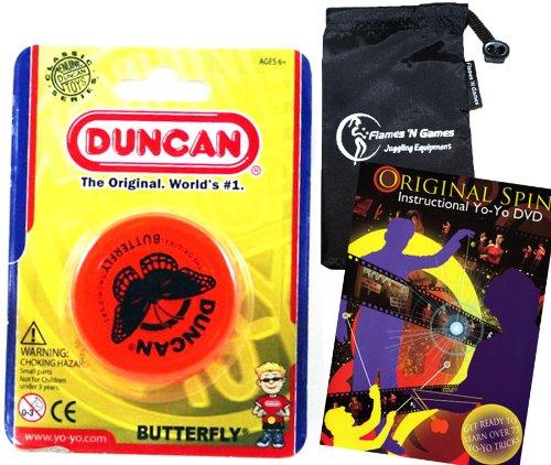 Duncan Butterfly YoYo Orange Beginners Entry-Level Yo Yo with Travel Bag  75 Yo-Yo Tricks DVD Great YoYos For Kids and Adults