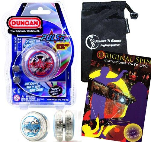 Duncan PULSE LED YoYo Red Professional Light-Up Bearing String Tricks Yo Yo  Travel Bag  75 Yo-Yo Tricks DVD BATTERIES INCLUDED