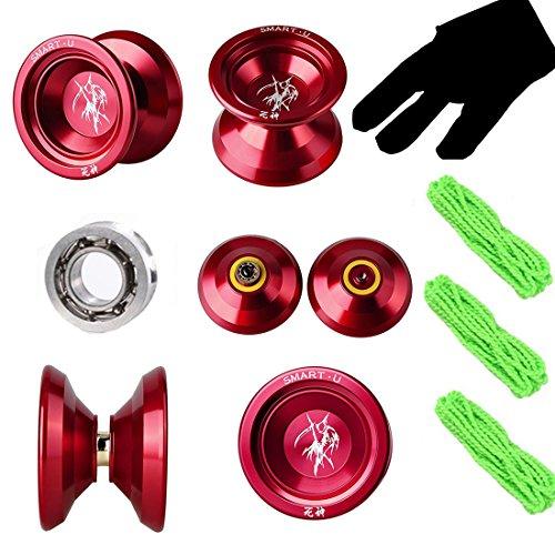 Red Unresponsive Yoyos - Professional Metal Alloy Aluminum Yo Yo Yos God of Death - Pro yoyo SmartU Yo-Yos Balls