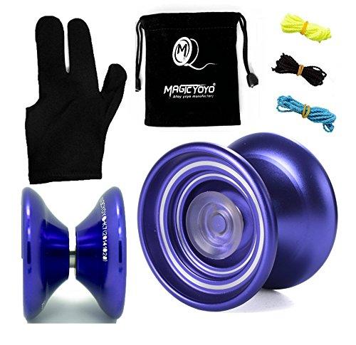 Responsive Aluminum Metal Yoyo MAGICYOYO K7 for Beginners with Glove3 Strings Purple