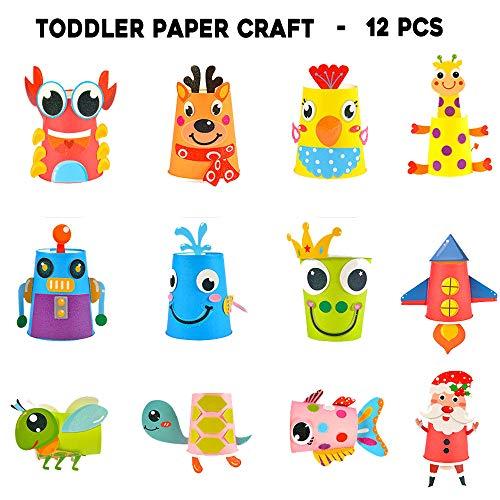 Here Fashion Toddler Paper Craft Art kit - DIY Handmade Paper Cups 12pcs Preschool Crafts for Kids Boys Girls