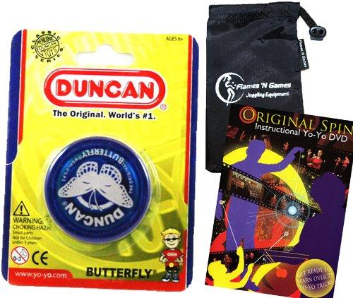Duncan Butterfly YoYo Blue Beginners Entry-Level Yo Yo with Travel Bag  75 Yo-Yo Tricks DVD Great YoYos For Kids and Adults