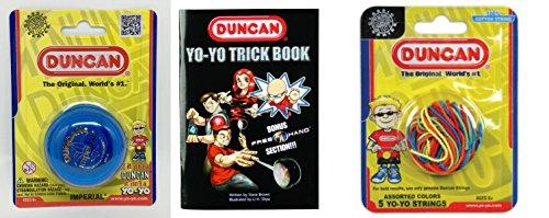 Duncan YoYo Kit - Imperial Blue Yo-Yo Multi Color Yo-Yo String 5 Pack and Yo-Yo Trick Book