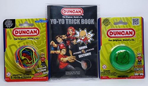 Duncan YoYo Kit - Imperial Green Yo-Yo Mult-Color Yo-Yo String 5 Pack and Yo-Yo Trick Book