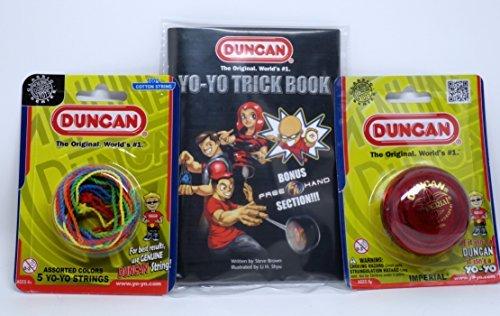 Duncan YoYo Kit - Imperial Red Yo-Yo Multi-Color Yo-Yo String 5 Pack and Yo-Yo Trick Book