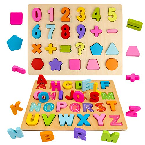2pcs Wooden Puzzles Alphabet Numbers Shape Learning Board Toy for Kindergarten Toddlers Early Educational