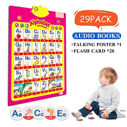 Talking Electronic Interactive Alphabet Poster and Enlightenment Flash Cards Educational Toys for Learning ABC Animal and Music Toys for Toddlers Daycare Preschool Kindergarten Boys and Girls