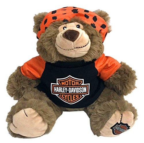 HARLEY-DAVIDSON Big Ed 12 in Huggy Stuffed Plush Bear Black Orange 9950849
