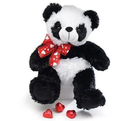 Burton Burton Plush Panda Bear Stuffed Animal with Red Heart Ribbon 10 Inches
