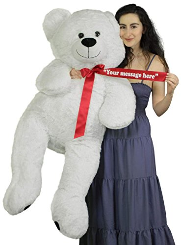 Personalized Giant White Teddy Bear 52 Inch Soft Big Plush Animal Your Message Customized on Red Satin Neck Ribbon Bow
