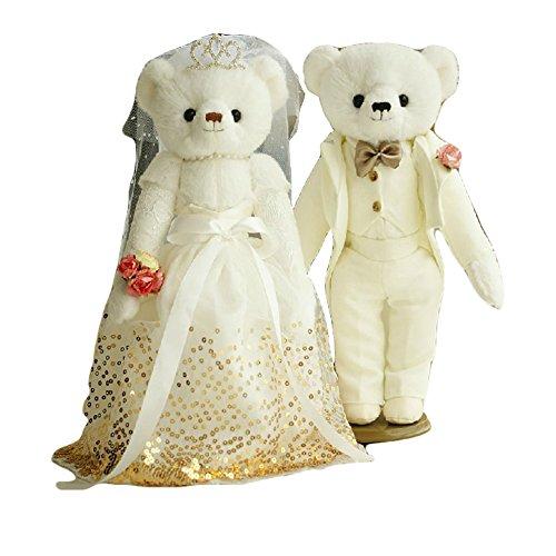 Lovely Wedding White Bears Cute Teddy Bears Wedding Gift Gold VeilWhite Suit