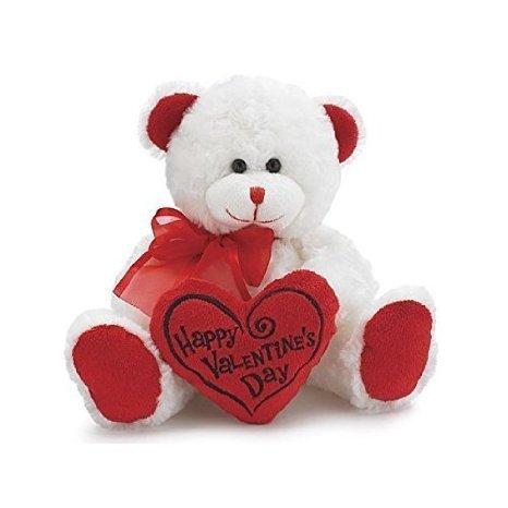 White Red Happy Valentines Day Plush Teddy Bear Stuffed Animal Gift