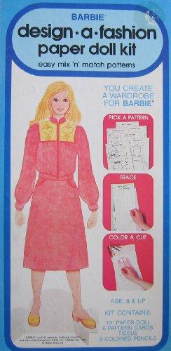 Barbie Design -A- Fashion Paper Doll Kit - Easy Mix N Match Patterns 1979 Western Publishing