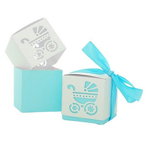 Housweety 1Packet Lightblue European Fashion Paper Hollow BB Stroller Wedding Candy Box