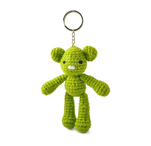 Green Teddy Bear Handmade Amigurumi Crochet Stuffed Keychains Keyrings VKC