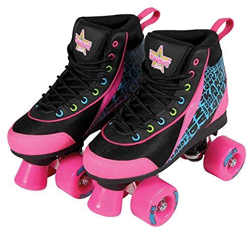 Kandy Skates Disco Diva Black and Pink Roller Skates - Size 4