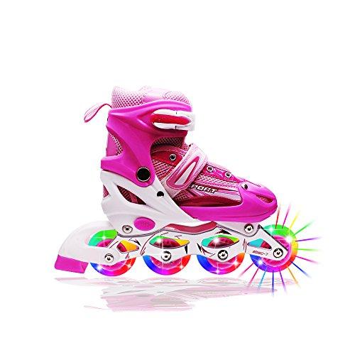 Kids Light Up Inline Roller Skates Adjustable Rollerblades Unisex Pink M