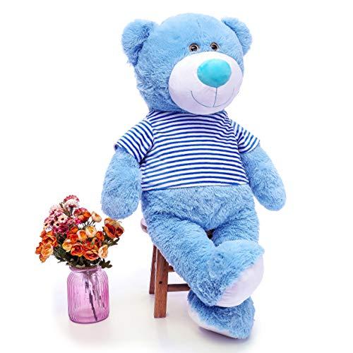 MaoGoLan Toys Studio 36 inch Blue Big Teddy Bear Cute Giant Stuffed Animals with Striped T-Shirt Plush Toy for Girlfriend Kids