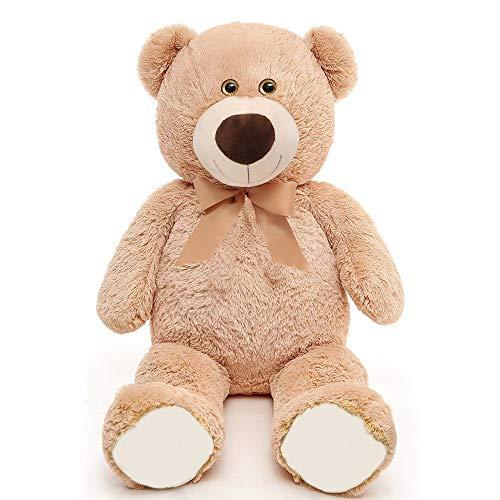 MaoGoLan Toys Studio Big Teddy Bear Cute Giant Stuffed Animals with Ribbon Plush Toy for Girlfriend Kids Brown 36 inch