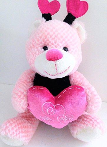 PINK TEDDY BEAR Velvet Heart Bee Wings Plush Stuffed Animal Toy Valentines Gift 12