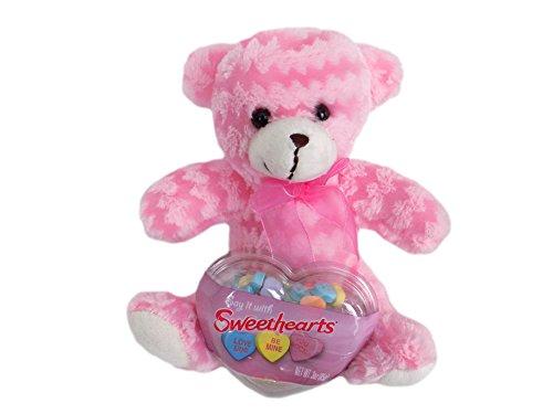 Sweethearts Hard Candy Pink Chevron Plush Teddy Bear Valentines Gift Set