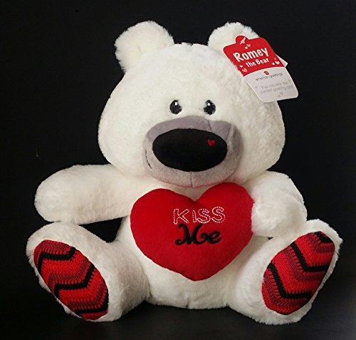 American Greetings ROMEY the Kiss Me 11 White Plush Bear with KISS ME Heart