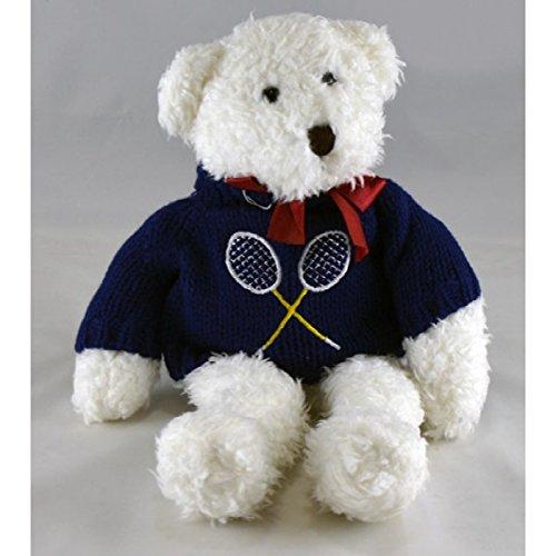 Clarke Tennis Teddy Bear - White Plush Bear with Dark Sweater