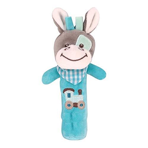 yuye-xthriv Plush Donkey Animal Baby Hand Shake Bell BB Rattle Squeaker Stick Education Toy Donkey