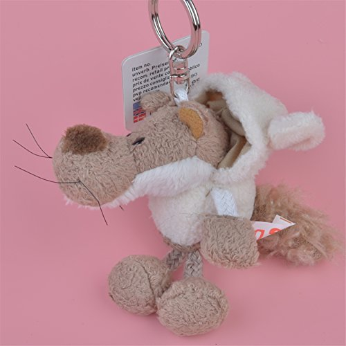 2 Pcs Keychain White Cap Wolf Pendant Stuffed Plush Keyring Key Holder