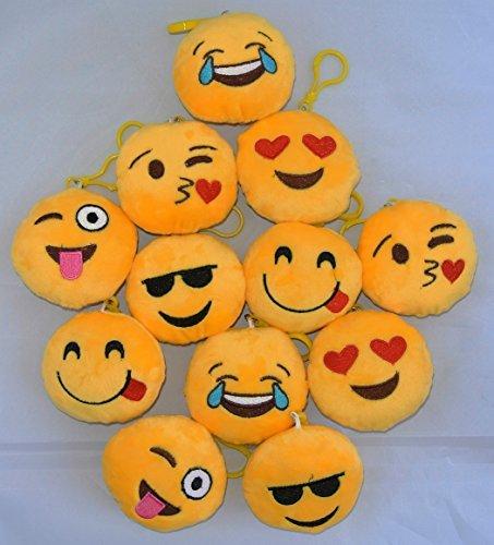 12 Pk 35 Inch Mini Emoji Plush Toy Keychain Bag Accesory