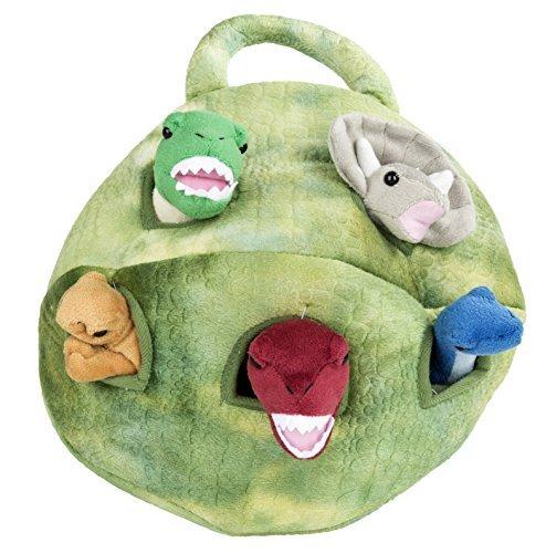 Plush Dinosaur House with Dinosaurs - Five 5 Stuffed Animal Dinosaur in Play Dinosaur Carrying Case