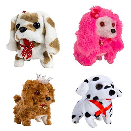 4PCS Christmas Gift for Child Plush Interactive Puppy Dog Toy Walking Barking Pet Kids Pet Toy C