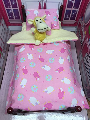 16-18 inch Doll pink Counting Sheep doll bedding set FITS American Girl with sheet and plush sheep